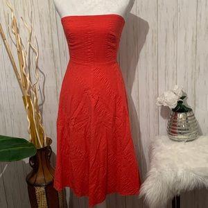 J. Crew Coral Strapless Midi Dress Size 0